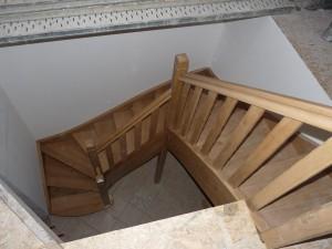Escalier 3 quarts tournants en chêne